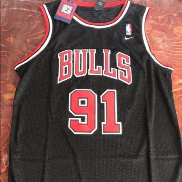 Mens Basketball Jersey Vest Chicago Bulls Rodman #91 Swingman Black Stripe Shirt